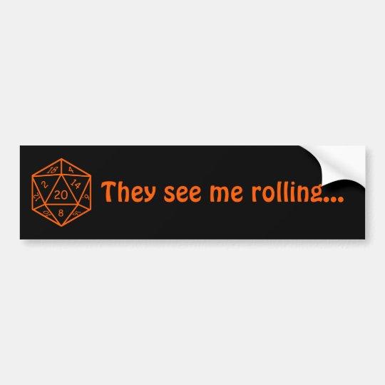"D20 Black & Orange, ""They see me rolling..."" Bumper Sticker"