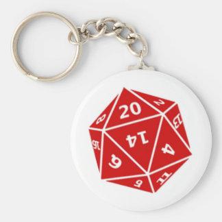 d20 die (red) basic round button key ring