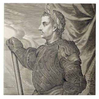 D. Claudius Caesar Emperor of Rome from 41 - 54 AD Large Square Tile