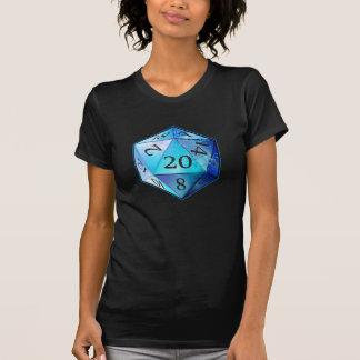 D&D d20 Blue and Black COBALT die T-Shirt