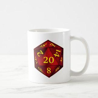 D&D d20 Crimson and Gold FIRE die Basic White Mug
