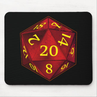 D&D d20 Crimson and Gold FIRE die Mouse Mat