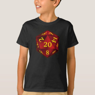 D&D d20 Crimson and Gold FIRE die T-Shirt