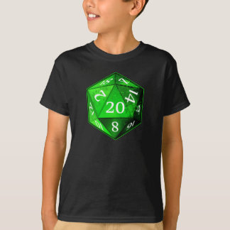 D&D d20 Green and White EMERALD die T-Shirt