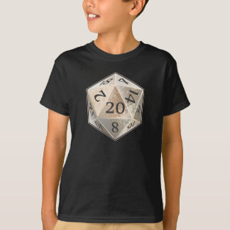 D&D d20 Ivory and Black BONE die T-Shirt