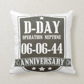 D-Day Anniversary Badge Throw Pillow