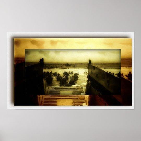D-Day Beach Scene Poster
