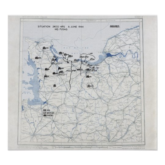 D-Day Map Poster