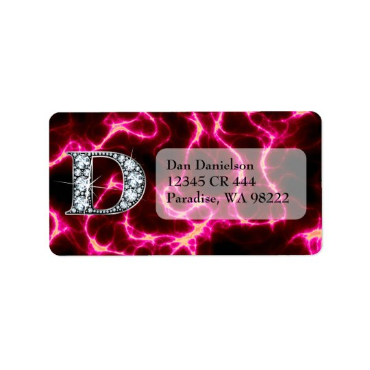 "D ""Diamond Bling"" Address Label"