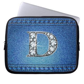 "D ""Diamond"" Denim Stitching Electronics Bag Computer Sleeves"