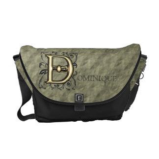 D - Embossed Vintage Monogram (Gold) Messenger Bags