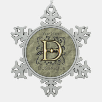 D- Embossed Vintage Monogram (Gold) Pewter Snowflake Decoration