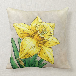 D for Daffodil Floral Monogram Cushion