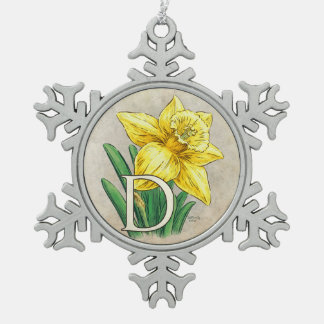 D for Daffodil Floral Monogram Snowflake Pewter Christmas Ornament
