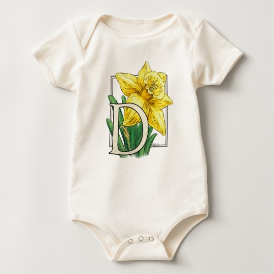D for Daffodil Flower Monogram Baby Clothes Baby Bodysuit