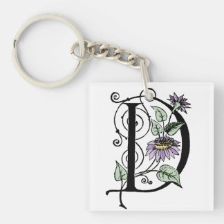 D Initial Cap Decorative Floral Design Vintage Single-Sided Square Acrylic Key Ring