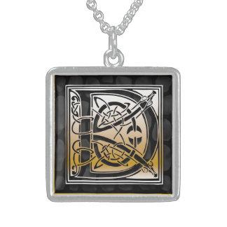 "D Initial Monogram ""Celtic Black Stone"" Necklaces Jewelry"