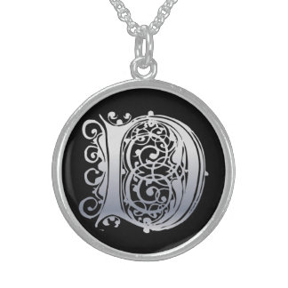 "D Initial Monogram ""Silver Lace on Black"" Necklace"