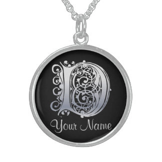 D Initial with Your Name Necklace Custom Jewelry