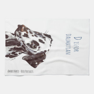 D is for Dalmatian - Liver and White Tea Towel