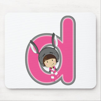 D is for Donkey Girl Mouse Mat
