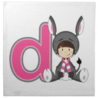 D is for Donkey Girl Napkin