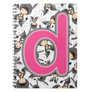 D is for Donkey Girl Spiral Notebook