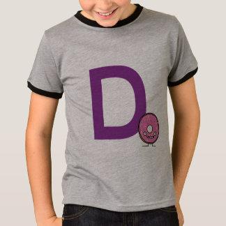 D is for Donut dessert pink icing sprinkles fried T-Shirt
