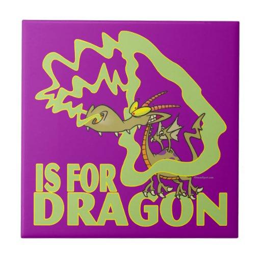 D is for dragon letter abc cartoon ceramic tile