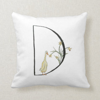 D is for Duck and Daffodil Throw Pillow