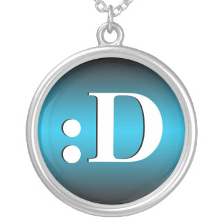 D Laughing Emoticon Blue Necklace