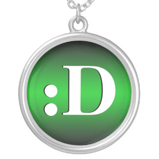 D Laughing Emoticon Green Necklace