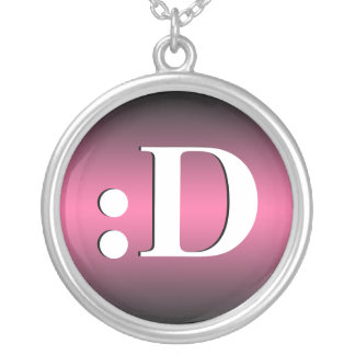 D Laughing Emoticon Pink Necklace