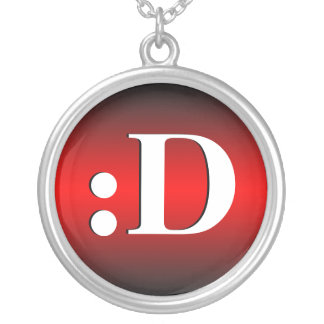 D Laughing Emoticon Red Necklace