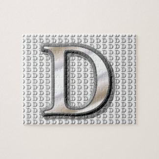 D- Modern Metallic Monogram Jigsaw Puzzle