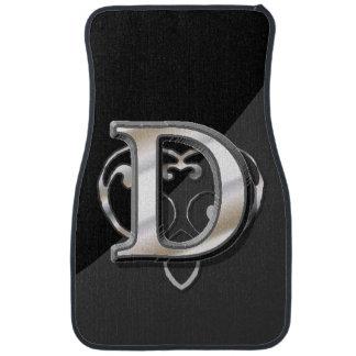 D - Modern Metallic Monogram (Silver) Car Mat