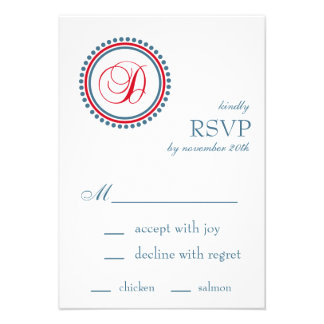 D Monogram Dot Circle RSVP Cards Red Blue
