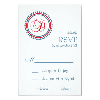 "D Monogram Dot Circle RSVP Cards (Red / Blue) 3.5"" X 5"" Invitation Card"