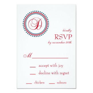 "D Monogram Dot Circle RSVP Cards (Red / Blue) 3.5"" X 5"" Invitation Card"