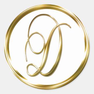 D Monogram Faux Gold Envelope Or Favor Seal Round Sticker