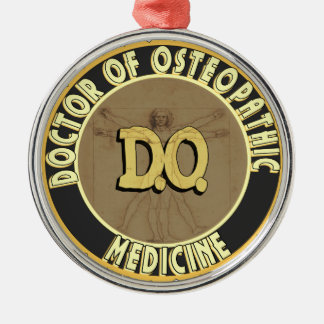 D.O. BADGE vitruvian Man DOCTOR OSTEOPATHY Silver-Colored Round Decoration
