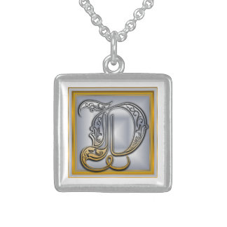 D Royal Initial Monogram Necklace Pendants
