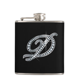 "D Script ""Diamond Bling"" Flask"