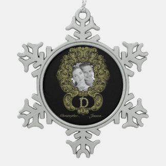 D - The Falck Alphabet (Golden) Pewter Snowflake Decoration