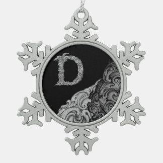 D - The Falck Alphabet (Silvery) Pewter Snowflake Decoration