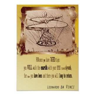 Da Vinci Helicopter Poster