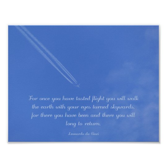 Da Vinci inspirational flight quote Poster