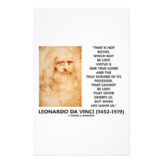 da Vinci Not Riches Lost Virtue Is Our True Good Stationery Paper
