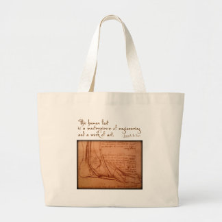 "da Vinci: ""The human foot is..."" Large Tote Bag"