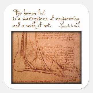 """da Vinci: """"The human foot is..."""" Square Sticker"""